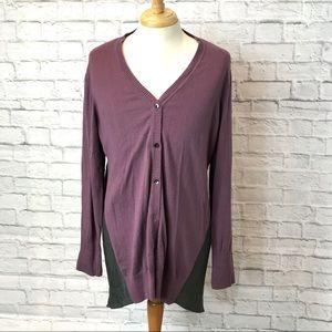 LOGO Cotton/Cashmere Button Cardigan Asymetrical